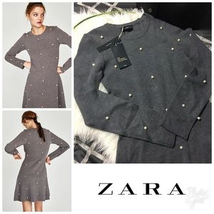 zara Skater Dress with Pearl Beads Size M NWT